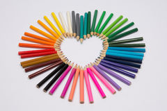 Valentine's day love concept with  pencils Royalty Free Stock Image