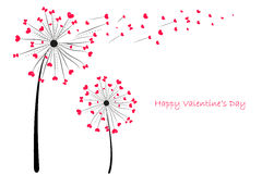 Valentine's Day Love Dandelion with red hearts greeting card vector Royalty Free Stock Image
