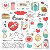 Valentine`s Day love doodles. A collection of Love illustrations in a doodle style for Valentine`s Day Stock Image