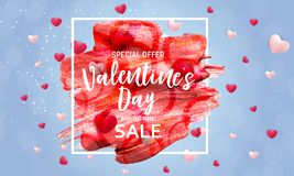 Valentine`s Day Love and Feelings Sale Background Design. Vector illustration Stock Photo
