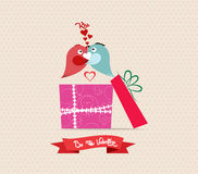 Valentine's Day love greeting card with bird couple gift Stock Photography