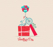 Valentine's Day love greeting card with gift Royalty Free Stock Photography