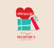 Valentine's Day love greeting card with gift Royalty Free Stock Photo