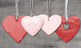 Valentine's Day love heart on rustic style background Stock Photos