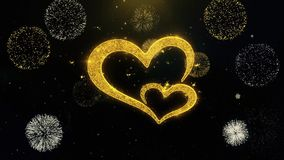 Valentine`s day love heart Written Gold Particles Exploding Fireworks Display
