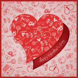 Valentine`s Day love - Hearts - Doodles collection Royalty Free Stock Images