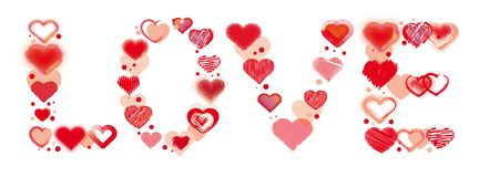 Valentine`s Day Love and Hearts painted Doodles Design beautiful Royalty Free Stock Photo
