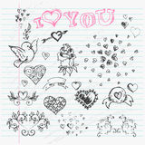 Valentine's Day Love & Hearts Sketch Notebook  design Royalty Free Stock Image