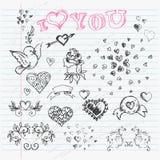 Valentine's Day Love & Hearts Sketch Notebook  design. Elements on Lined Sketchbook Paper Background. Vector Illustration Royalty Free Stock Image
