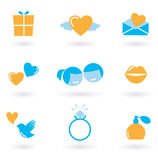 Valentine's day and Love icon collection - orange stock illustration