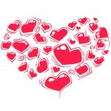 Valentine`s day and love icons in heart shape vector illustration