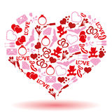 Valentine's day and love icons in a hearth shape Royalty Free Stock Photo