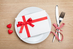 Valentine's Day love letter over plate with silverware Stock Photos