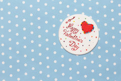 Valentine's day love message. Handmade,  on blue with white dots background (polka dot Stock Photography