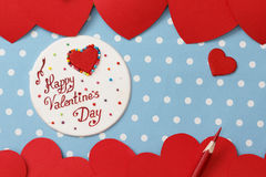 Valentine's day love message. Handmade, on blue with white dots background (polka dot Royalty Free Stock Images