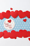Valentine's day love message. Handmade,  on blue with white dots background (polka dot) with white borders Royalty Free Stock Photography