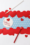 Valentine's day love message. Handmade, with pencils and hearts  on blue with white dots background (polka dot) with white borders Royalty Free Stock Photos