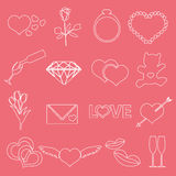 Valentine's day and love outline icons eps10 Stock Photos