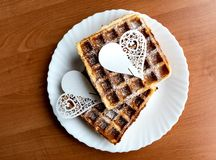 Valentine`s Day with love and Plate of belgian waffles royalty free stock photography