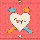 Valentine's day love postcard with hand drawn Royalty Free Stock Photos