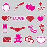 Valentine's day and love stickers  Royalty Free Stock Image