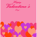 Valentine`s Day and Love Symbol.Multicolored Heart  on Pink Back Stock Photo