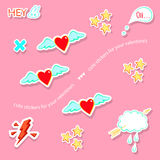 Valentine's day love theme cute badges, stickers, stamps Royalty Free Stock Images