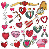Valentine's day,love,wedding ,hearts decor. Valentine's day hearts icons big set.For wedding,love,romantic card,template.Flat elements collection.Cute Doodle Royalty Free Stock Photos