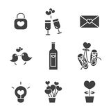 Valentine's day, Love and Wedding icons set Royalty Free Stock Photo