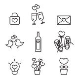 Valentine's day, Love and Wedding icons set Stock Photo