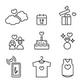 Valentine's day, Love and Wedding icons set Stock Image
