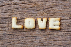 Valentine's Day,LOVE word composed of with cookies letters Royalty Free Stock Photo