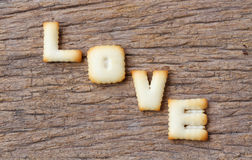 Valentine's Day,LOVE word composed of with cookies letters Stock Image