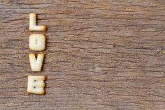 Valentine's Day,LOVE word composed of with cookies letters Royalty Free Stock Photos