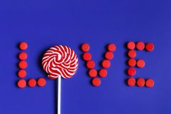 Valentine`s day love written by candies, candy stock images