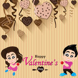 Valentine's Day and lovers on Heart chocolate Party background. Vector Party Heart chocolate and full heart on colorful Background. Vector Happy Valentine's royalty free illustration