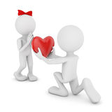 Valentine's Day. Man with a heart in his hands and a man with a bow Royalty Free Stock Image