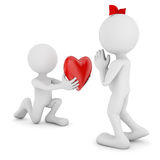 Valentine's Day. Man with a heart in his hands and a man with a bow Royalty Free Stock Photo