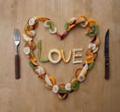 Valentine's Day Meal! Fruity Heart! Fresh Dessert!5-A-Day! Royalty Free Stock Photos