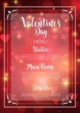 Valentine`s Day menu design Royalty Free Stock Photos