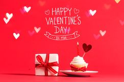 Valentine`s Day message with cupcake and heart Stock Images