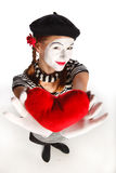 Valentine's day mime portrait Royalty Free Stock Photo