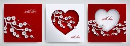 Valentine`s day, mother`s day design set. Greeting card, poster, banner collection. Heart with cherry flowers branch on red, white Royalty Free Stock Images