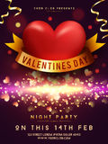 Valentine`s Day Night Party Template, Banner. Stock Photography