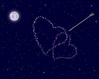Valentine's day. The night sky with two hearts. Stock Photo