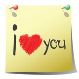 Valentine's Day note. Note for Valentine's Day, isolated object over white background Royalty Free Stock Image