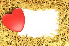 Lovely Red Heart on paddy floor Royalty Free Stock Images