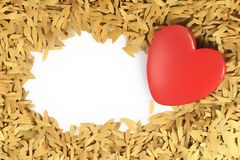 Lovely Red Heart on paddy floor. A Valentines day Note for Lover concept stock illustration