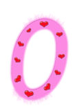 Valentine's day numeral - 0 Royalty Free Stock Image