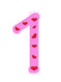 Valentine's day numeral - 1 Stock Photos